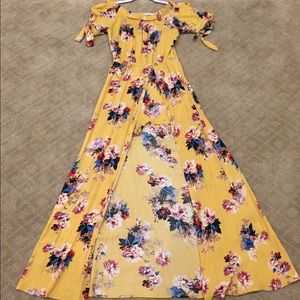 Yellow Floral Romper Dress